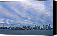 Seattle Waterfront Canvas Prints - Blue Vortex Morning Canvas Print by Dan Mihai