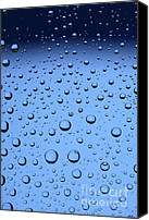 Sparkling Canvas Prints - Blue Water Bubbles Canvas Print by Frank Tschakert