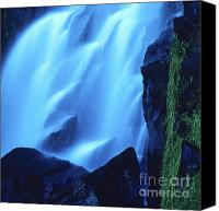 Body Canvas Prints - Blue waterfall Canvas Print by Bernard Jaubert