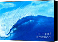 Wash Pastels Canvas Prints - Blue Wave Canvas Print by Alec  Pydde