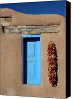 Albuquerque Canvas Prints - Blue Window of Taos Canvas Print by Heidi Hermes