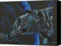 Helm Pastels Canvas Prints - Blue Wolves Canvas Print by Mayhem Mediums