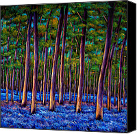 Spring Painting Canvas Prints - Bluebell Wood Canvas Print by Johnathan Harris