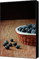 Food And Drink Canvas Prints - Blueberries In Wicker Basket Canvas Print by  Brigitte Smith