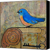 Canvas Mixed Media Canvas Prints - Bluebird Art - Knowledge is Key Canvas Print by Blenda Tyvoll