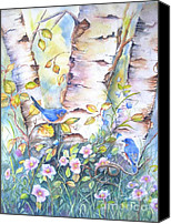 Bird Art Canvas Prints - Bluebirds and birch trees Canvas Print by Patricia Pushaw