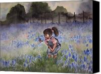 Texas Bluebonnets Canvas Prints - Bluebonnet Cutie Canvas Print by Kim Whitton