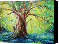 Blue Flowers Painting Canvas Prints - Bluebonnets Under The Oak Canvas Print by David G Paul