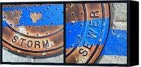 Casa Grande. Canvas Prints - Bluer Sewer Diptych Canvas Print by Marlene Burns