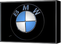 Silver Canvas Prints - BMW Emblem Canvas Print by DigiArt Diaries by Vicky Browning