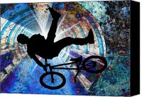 Teenager Tween Silhouette Athlete Hobbies Sports Canvas Prints - BMX in a Grunge Tunnel Canvas Print by Elaine Plesser
