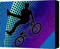 Teenager Tween Silhouette Athlete Hobbies Sports Canvas Prints - BMX in Fractal Movie Marquee Canvas Print by Elaine Plesser