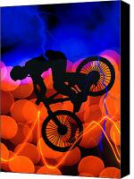 Teenager Tween Silhouette Athlete Hobbies Sports Canvas Prints - BMX in Light Crystals and Lightning Canvas Print by Elaine Plesser