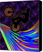 Teenager Tween Silhouette Athlete Hobbies Sports Canvas Prints - BMX on a Rainbow Road  Canvas Print by Elaine Plesser