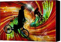 Teenager Tween Silhouette Athlete Hobbies Sports Canvas Prints - BMXers in Red and Orange Grunge Swirls Canvas Print by Elaine Plesser