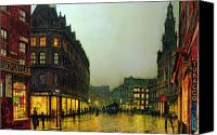Oil Lamp Canvas Prints - Boar Lane Canvas Print by John Atkinson Grimshaw