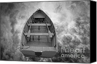White Canvas Prints - Boat and Clouds Canvas Print by Dave Gordon
