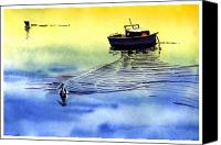 Anil Nene Canvas Prints - Boat and the seagull Canvas Print by Anil Nene