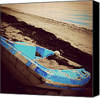Beach Canvas Prints - #boat #beach #sand #buried #miami Canvas Print by Joel Lopez