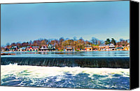 Boathouse Row Canvas Prints - Boat House Row from Fairmount Dam Canvas Print by Bill Cannon
