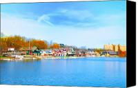 Kelly Digital Art Canvas Prints - Boat House Row from West River Drive Canvas Print by Bill Cannon