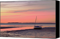 Cape Cod Canvas Prints - Boat In Cape Cod Bay At Sunrise Canvas Print by Gemma