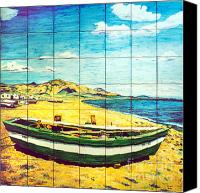 Beaches Ceramics Canvas Prints - Boat on Fuengirola beach Canvas Print by Jose Angulo