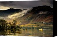 Mountain Scenes Canvas Prints - Boat On Lake Derwent, Cumbria, England Canvas Print by John Short