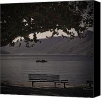 Autumn Foliage Canvas Prints - boat on the Lago Maggiore Canvas Print by Joana Kruse