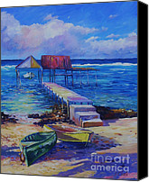 Cuba Painting Canvas Prints - Boat Shed and Boats Canvas Print by John Clark