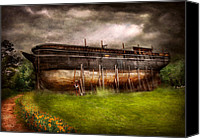 Noah Canvas Prints - Boat - The construction of Noahs Ark Canvas Print by Mike Savad