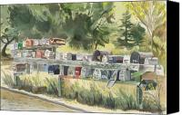 Sausalito Painting Canvas Prints - Boathouse Mailboxes Canvas Print by Kate Peper