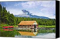 Outdoor Canvas Prints - Boathouse on mountain lake Canvas Print by Elena Elisseeva
