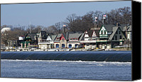 Boathouse Row Canvas Prints - Boathouse Row - Philadelphia Canvas Print by Brendan Reals