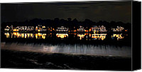 Boathouse Canvas Prints - Boathouse Row After Dark Canvas Print by Bill Cannon