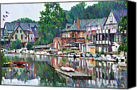 Colorful Canvas Prints - Boathouse Row in Philadelphia Canvas Print by Bill Cannon