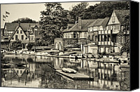 Boathouse Canvas Prints - Boathouse Row in Sepia Canvas Print by Bill Cannon