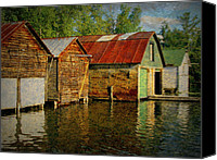Lake Michigan Canvas Prints - Boathouses on the River Canvas Print by Michelle Calkins
