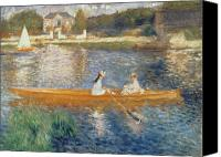 Building Canvas Prints - Boating on the Seine Canvas Print by Pierre Auguste Renoir