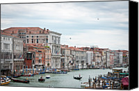 Gondola Canvas Prints - Boats And Gondolas In Grand Canal Canvas Print by AlexandraR