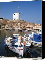 Cyclades Canvas Prints - Boats and windmill Canvas Print by Jane Rix