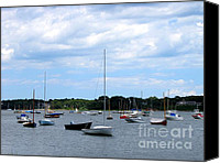 Beach  Wind Surfing Canvas Prints - Boats at Cape Cod Beach Canvas Print by Annie Zeno