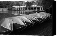 Rowboats Canvas Prints - Boats at the Boat House Central Park Canvas Print by Christopher Kirby