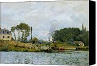Bougival Canvas Prints - Boats at the lock at Bougival Canvas Print by Alfred Sisley