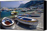 Amalfi Coast Canvas Prints - Boats in Marina Grande Canvas Print by George Oze