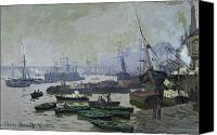 Battersea Canvas Prints - Boats in the Pool of London Canvas Print by Claude Monet