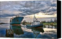 Tugboat Canvas Prints - Boats on a Canal Canvas Print by Olivier Le Queinec