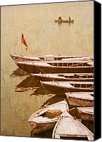 Emblematic Photo Canvas Prints - Boats on river Canvas Print by Karel Noppe
