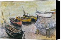 On The Beach Canvas Prints - Boats on the Beach Canvas Print by Claude Monet
