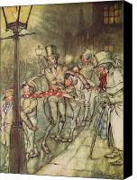 London Drawings Canvas Prints - Bob Cratchit went down a slide on Cornhill Canvas Print by Arthur Rackham